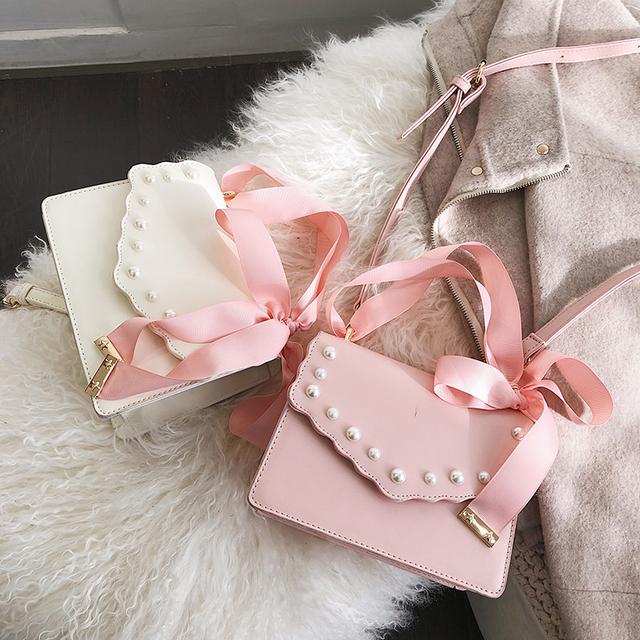 Toposhine Cute Bow Personality Pearl Ladies Handbag New Fashion High Quality Casual Wild Shoulder Messenger Bag Bandolera
