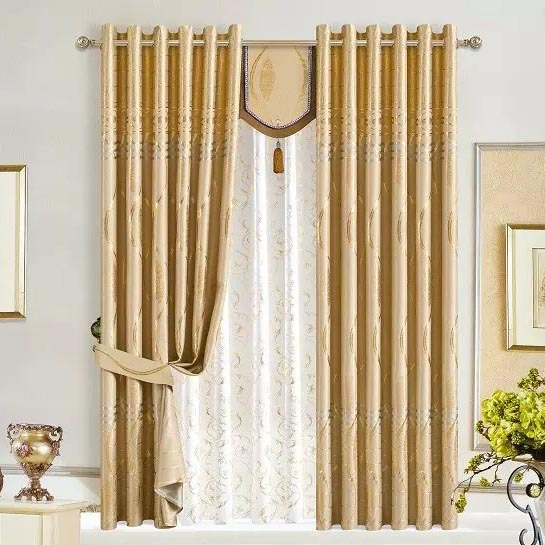 Great Fabric Gold Wave Flower Wide 210 CM Curtains Fabric Silver Curtain For  Hotel 5 Stars Hotel