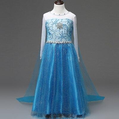 Платье Эльзы для девочек; Новинка; костюмы Снежной Королевы для детей; платья для костюмированной вечеринки; платье принцессы; disfraz carnaval vestido de festa infantil congelados - Цвет: elsa dress G
