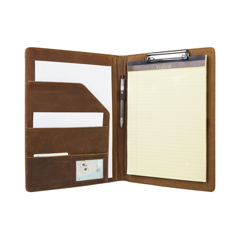 Handmade Retro Leather Portfolio Clipboard Folder A4 File Folder, Business Presentation Folder For Women & Men
