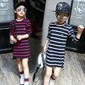 Girls Korean Fashion Models Long - Sleeved Stripe Kids Clothing Cotton Red Green Dark Blue