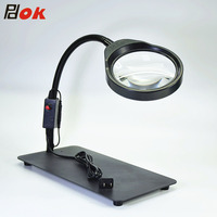 Inspection Watch Jeweler's tool Laboratory optical glass magnifier with 48pcs dimmable LEDs 10 times magnify glass
