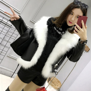 Image 5 - Куртка FTLZZ из искусственной кожи женская, короткий жилет из белого искусственного меха и уличная одежда черного цвета из искусственной кожи, зимняя верхняя одежда