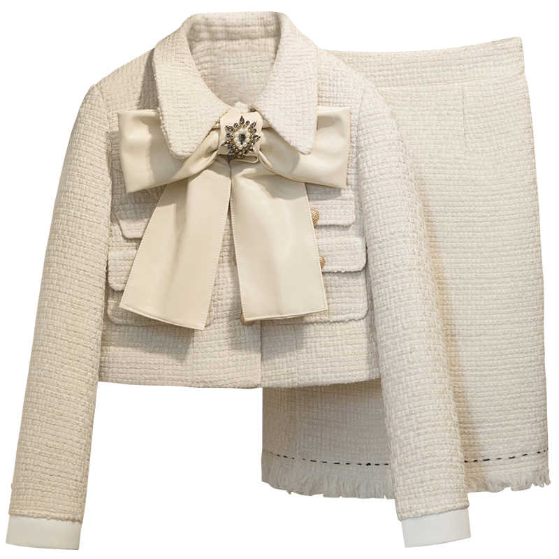 2 stück Set Frauen Frühling Herbst 2019 Langarm Top Retro Anzug Büro Dame Zipper Fly Bogen Kurze Wolle Mantel + rock Weiß Mantel