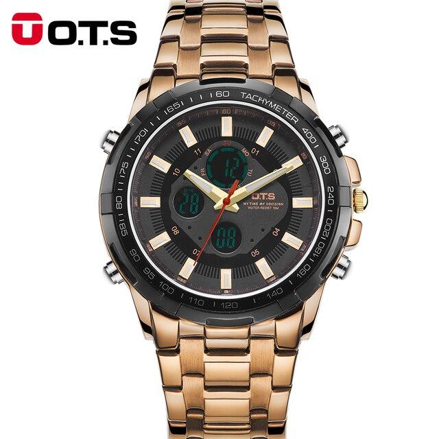 OTS 2016 Luxury Brand Watch Men Business Casual Wristwatch Full Steel Military Sport relogios masculinos Digital Quartz Watches