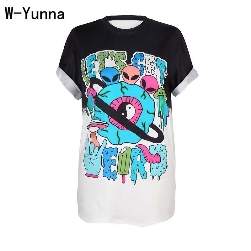 W-Yunna Neue Auflistung Mode Tai Chi Digital Printing Kurzarm Shirt Lange Abschnitt Von Losen Rundhals pullover T Shirt Frauen