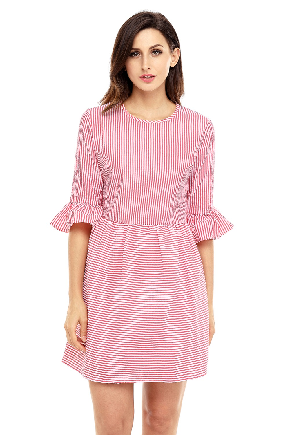 681b3d9cbc2 Shirt dress women stripes Flounce Seersucker Dress bell sleeves Cute preppy  style tank dress korean casual dress women New Sale
