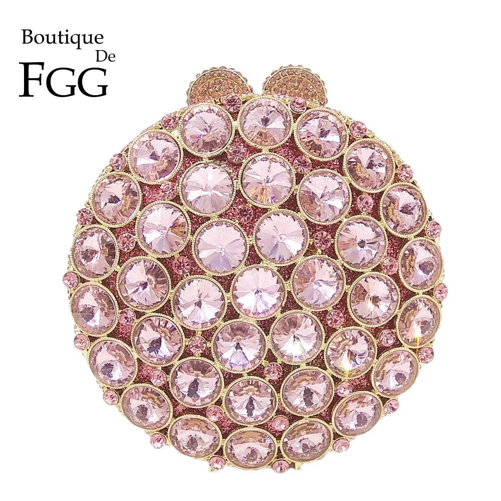 Boutique De FGG Socialite Hollow Out Round Hardcase Women Pink Crystal Evening Purse Wedding Party Prom Handbag Clutch Bag