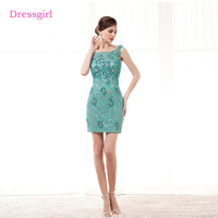 Mint Green Elegant Cocktail Dresses 2018 Sheath Short Mini Lace Pearls Backless Homecoming Dresses