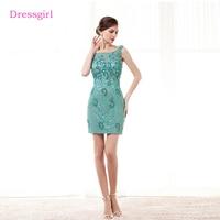 Mint Green Elegant Cocktail Dresses 2018 Sheath Short Mini Lace Pearls Backless Homecoming Dresses