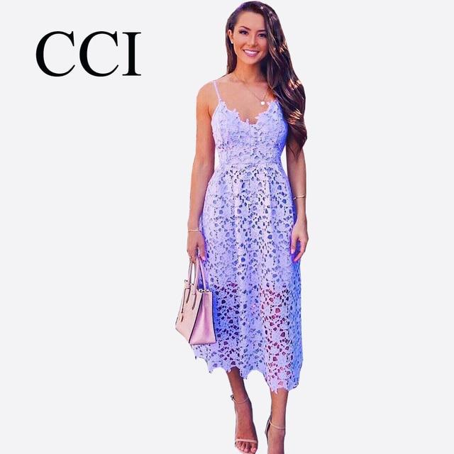 CCI Strap Vintage White Lace Dress Women Overlay V Neck Summer Dress 2018  High Waist Sexy Backless Midi Dress Vestidos CCI399-45 4ae7093806