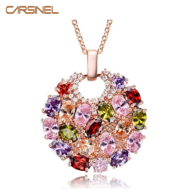 Mujeres de la moda genuino AAA Cubic Zirconia Stone Wedding Necklace Real Rose Gold-color Jewelry Accessories para mujeres Party NE0001