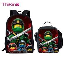Thikin Game Ninjago School Bag 2PCS Set for Boys Girls Teenagers  Fashion Lunch Pen Bags Backpack Kids Book Travelbag