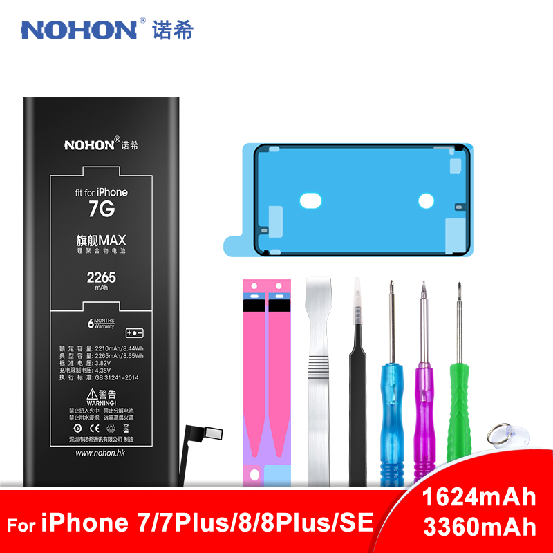 NOHON Battery For iPhone 7 8 Plus 7Plus 8Plus SE Bateria For iPhone7 Replacement Max Capacity Mobile Phone Batarya + Free Tools iphone