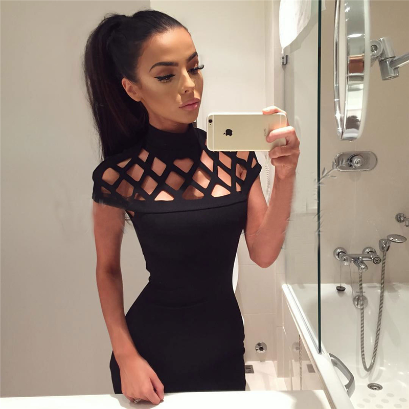 New Fashion Dresses Women's Hot Sexy Hollow Out High Neck Dress Ladies Bodycon Slim Short Sleeve Evening Party Pencil Mini Dress
