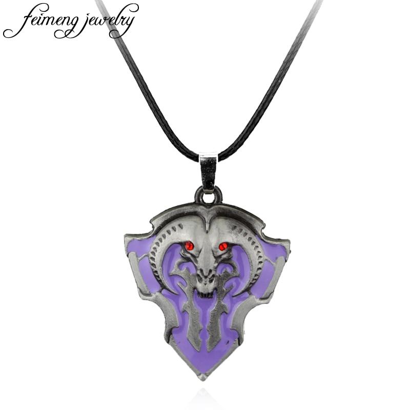 Hot Online Game Dota 2 Pendant Necklace DOTA 2 Roshan Shield Rope Lesther Purple Enamel Pendant Fashion Accessories For Fans