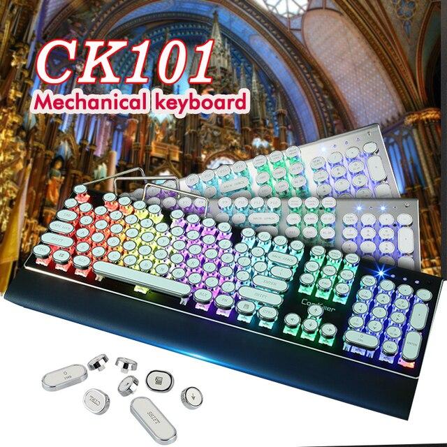QWERTY STEAMPUNK Retro Mechanical keyboard USB Wired Rainbow Typewriter Gaming Led Backlit Keyboard for Computer Desk Gamer 1