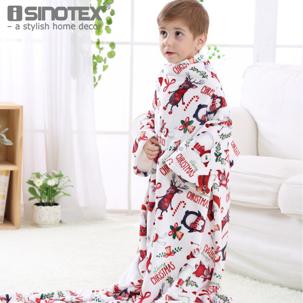 Blanket Throw Cartoon Christmas New Year Gift Polyester Fabric Flannel Fleece Children Kid Soft Portable with Sleeves 1 PCS