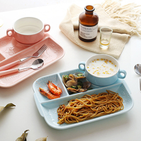 Japanese style grid creative ceramic plate set breakfast plate one person food grid tray household plate WF627949