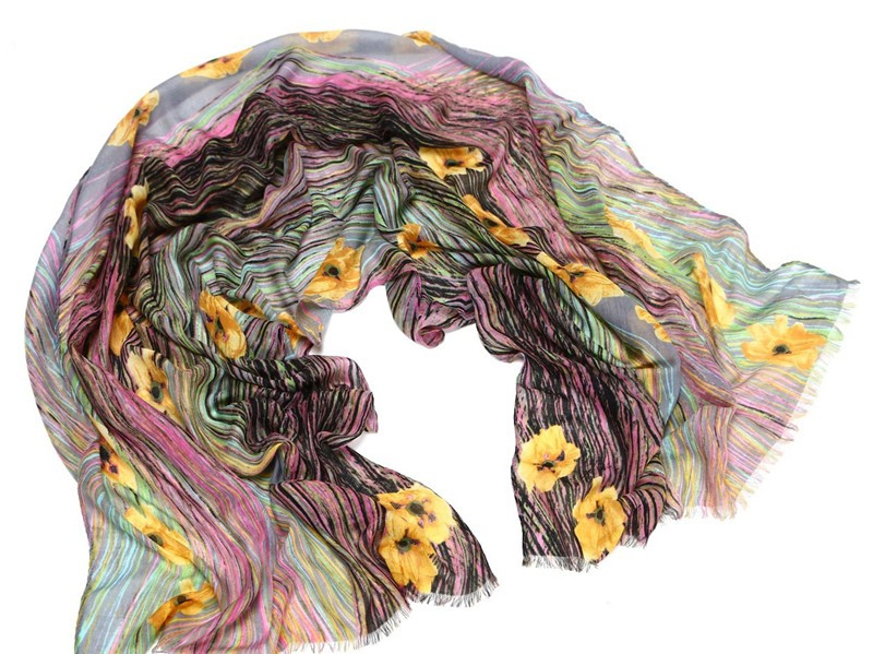 Flowers Spread Silk Scarf | Lightweight Scarves | Up to 60% Off Now