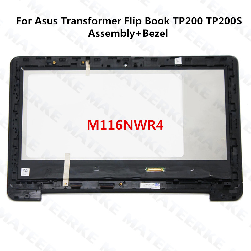 11.6 inch Laptop IPS LCD Touch Assembly+Bezel For Asus Transformer Flip Book TP200 TP200S TP200SA,M116NWR4 lcd front bezel assembly for lenovo ideapad y400 ap0rq00020