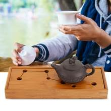 Tea Serving Plate Bamboo Tea Tray Cup Plate with Seven Holes Serving Tabletop Tray Kung Fu Tea Accessory Cafe Kitchen Tea Table(China)