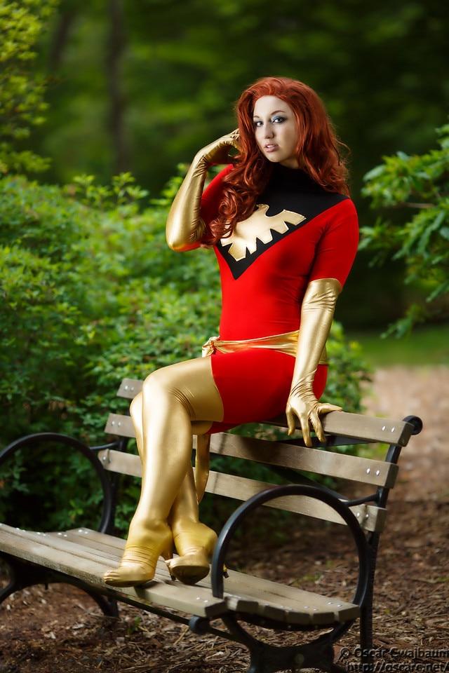 Jean Grey Dark Phoenix from X Men Costume Lycra Shiny Metallic Zentai Cosplay Halloween Woman Girl