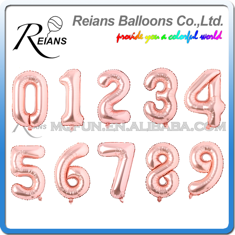 500pcs 32inch rose gold number balloons 0/1/2/3/4/5/6/7/8/9 giant digital aluminum foil balloon 16 20 30 birthday party ballons
