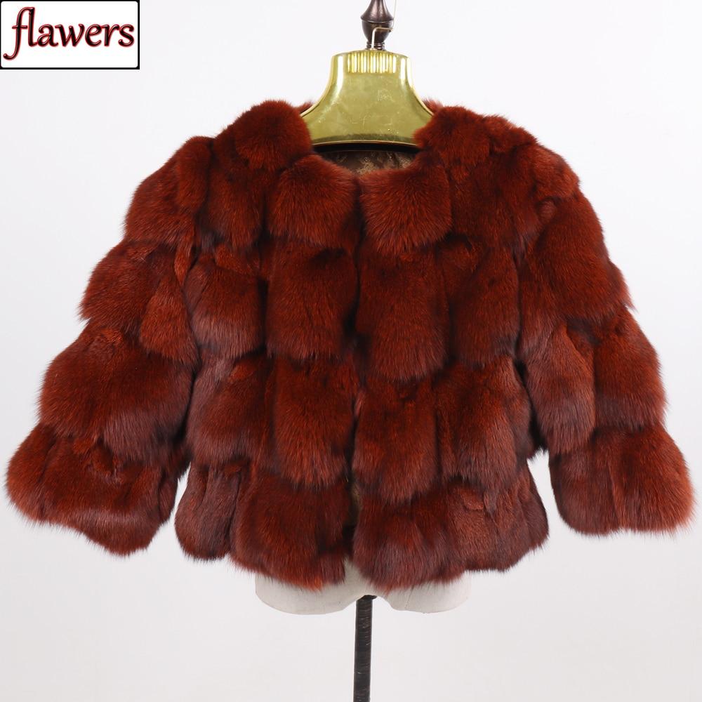 New Winter Women Genuine Fox Fur Coats Ladies Slim Short Real Natural Fur Jackets New Style 100% Natural Real Fox Fur Overcoats