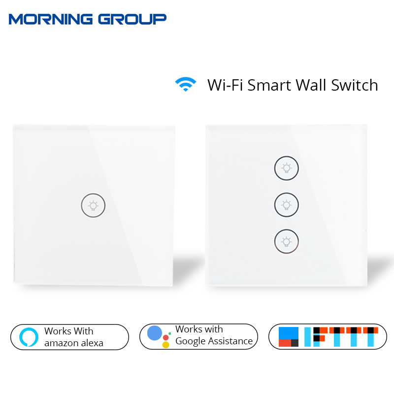 Wifi Smart Wall Touch Switch Glass Panel EU Standard APP Remote Control Works with Amazon Alexa Google Home for Smart Home sonoff t1 us smart touch wall switch 1 2 3 gang wifi 315 rf app remote smart home works with amazon free ios and app ewelink