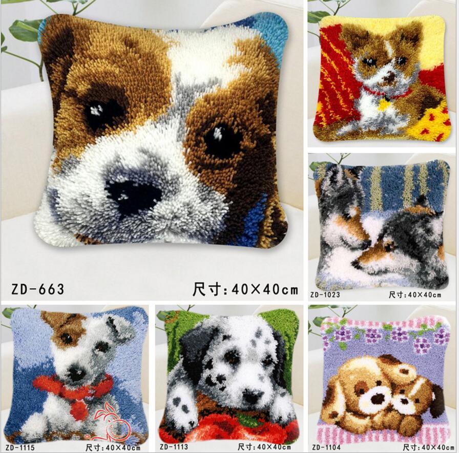 new diy Pillow embroidery carpet blanket knitting needle felt craft cushion carpet lock hook cross stitch cartoon animal dog