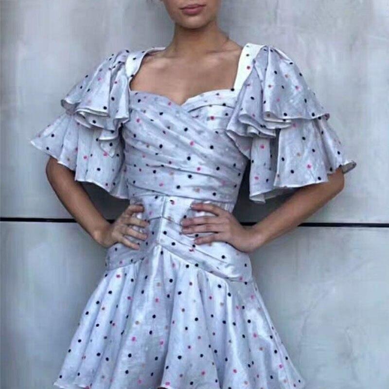 2019 été Bo Dot imprimé plissé en forme de coeur décolleté Lotus feuille manches rayé Lotus feuille Sexy Maxi robes pour les femmes