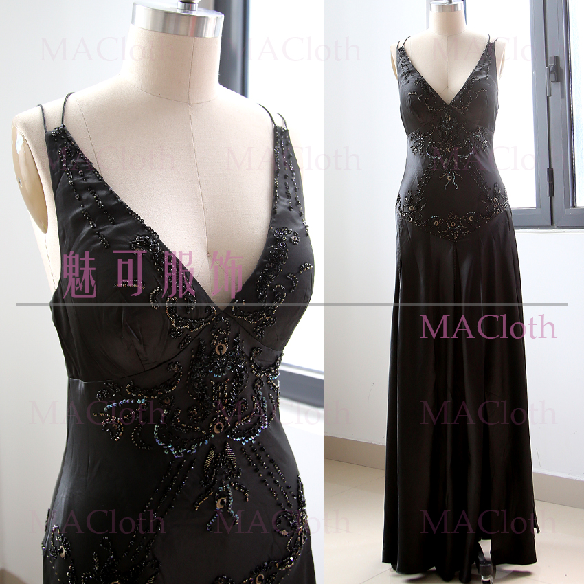 MACloth Black A-Line V Neck Floor-Length Long Beading Satin   Prom     Dresses     Dress   XXL 260967 Clearance