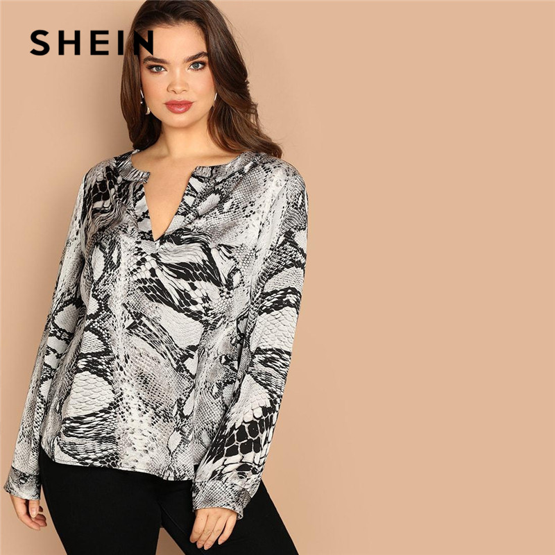 d044c7bc10 Detail Feedback Questions about SHEIN Plus Size V Neck Streetwear  Asymmetrical Hem Snake Skin Print Women Blouses Long Sleeve Casual Spring  Autumn Tops on ...