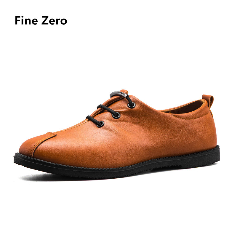 Fine Zero 2018 male spring summer Flat Shoes Lace-up Solid Soft Leather Slip On Shoes Men Causal Loafers man dress oxfords