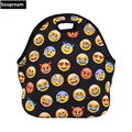 free shipping emoji 3D printing Insulated Neoprene Lunch Bag Tote Handbag lunchbox food Container Gourmet Cooler warm beer Pouch