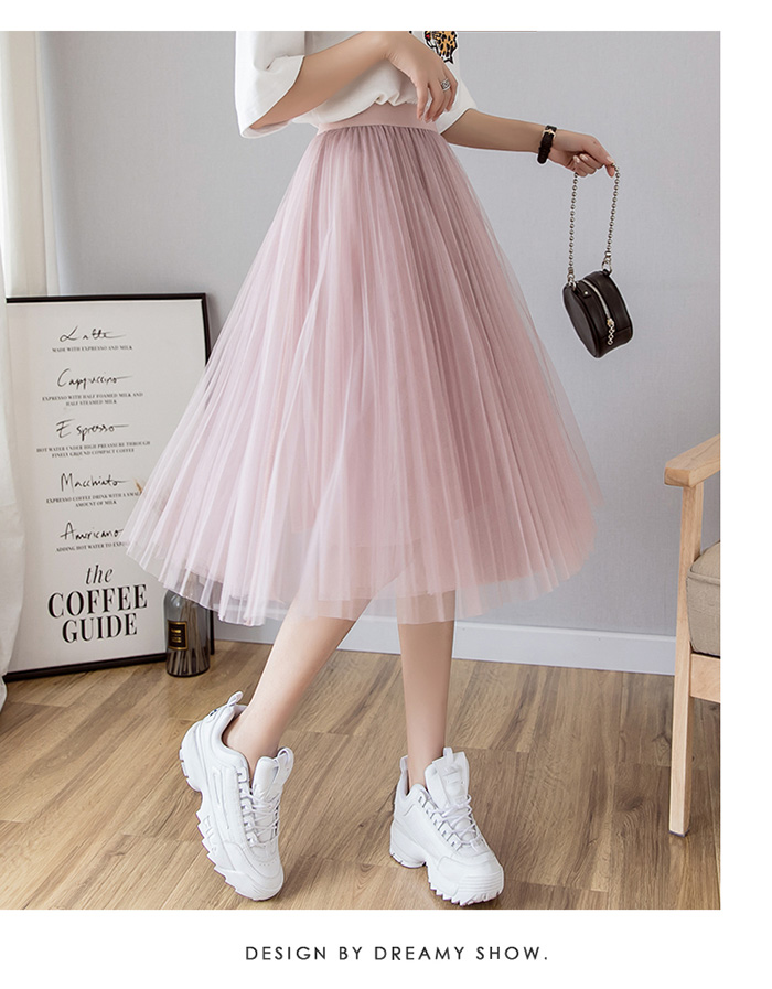 HTB1vbrHLzDpK1RjSZFrq6y78VXau - Tulle Skirts Womens Midi Pleated Skirt Black Pink Tulle Skirt Women Spring Summer Korean Elastic High Waist Mesh Tutu Skirt