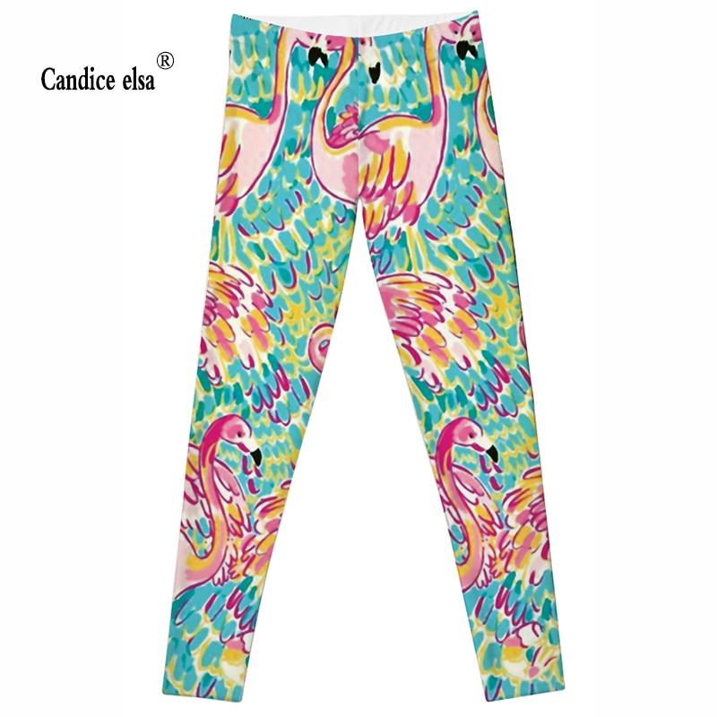 CANDICE ELSA donne morbide Leggings bella colorato flamingo stampato leggins moda calzamaglie deportivas mujer fitness pantaloni femminili