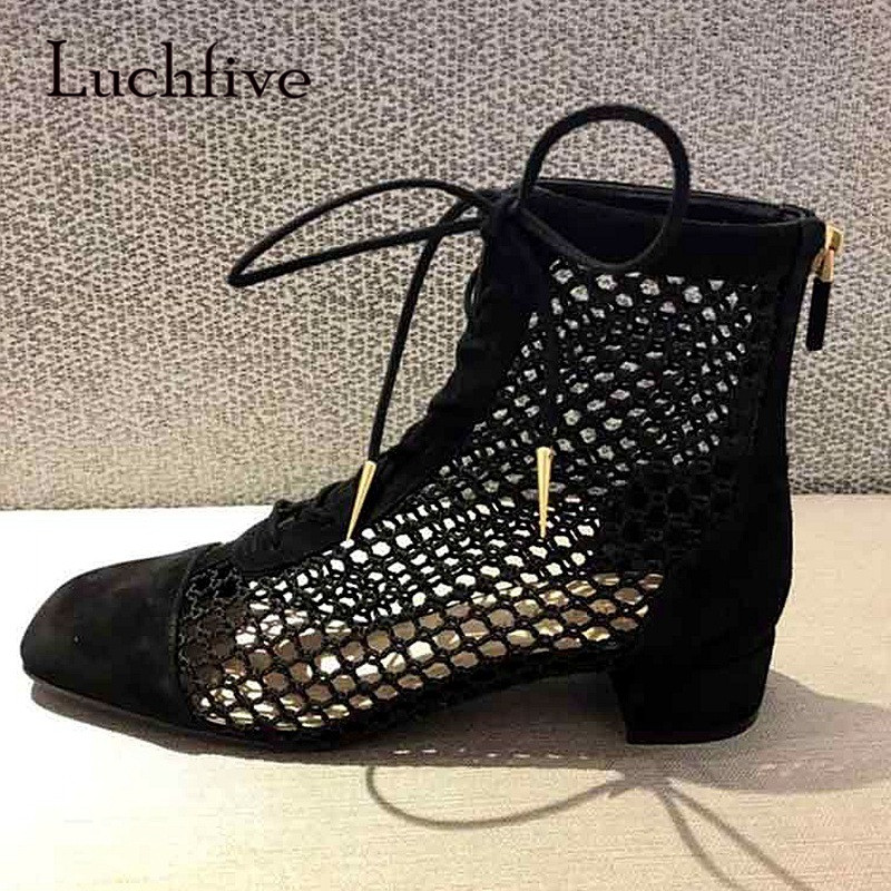 2018 Sexy Mesh Boots Woman Square Toe Hollow Cross Strap Ankle Boots Women Runway Gladiator Sandals