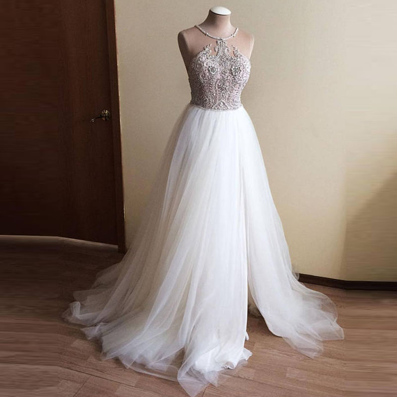 Dubai Beach Crystal Beaded Wedding Dresses 2018 Real Image Halter A line Tulle Bridal Gowns With Side Split Robe De Mariee