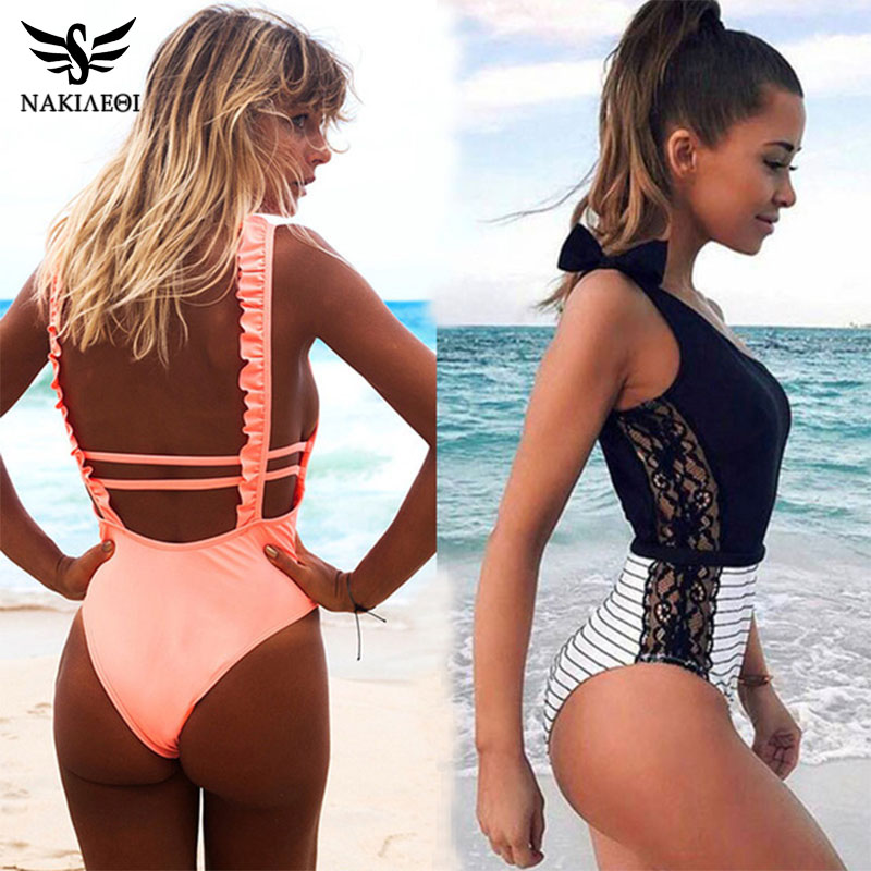 NAKIAEOI Sexy One Piece Swimsuit Women 2019 Summer Beachwear Lace One Shoulder Swimwear Bathing Suits Bodysuit Monokini Swimsuit-in Body Suits from Sports & Entertainment on AliExpress