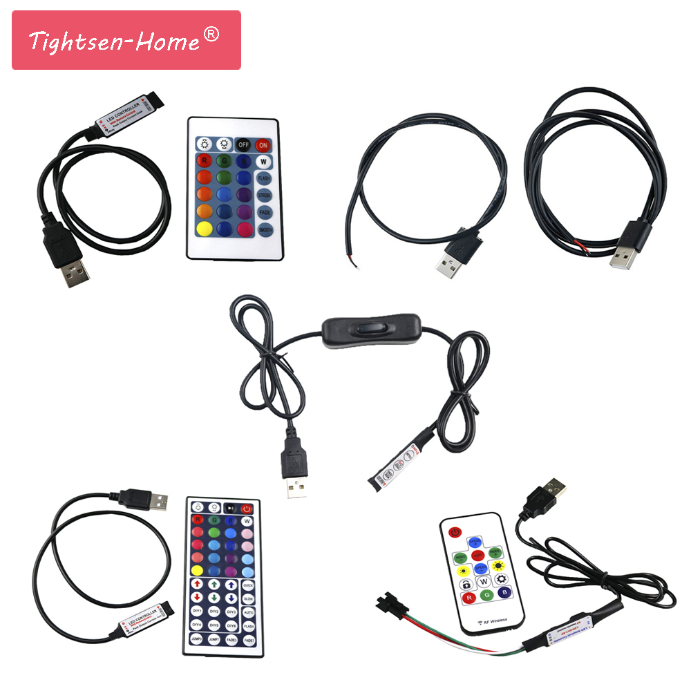 5V USB RGB LED Controller Dimmer RF Wireless Mini Remote Controller For RGB 3528 5050 WS2812B RGB Led Strip Tape Lighting 5-24V