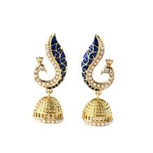 Royal Affair Peacock Stud Earring Unique Long Enamel Animal Golden Tone Simulated Pearl Egyptian Earrings For Women