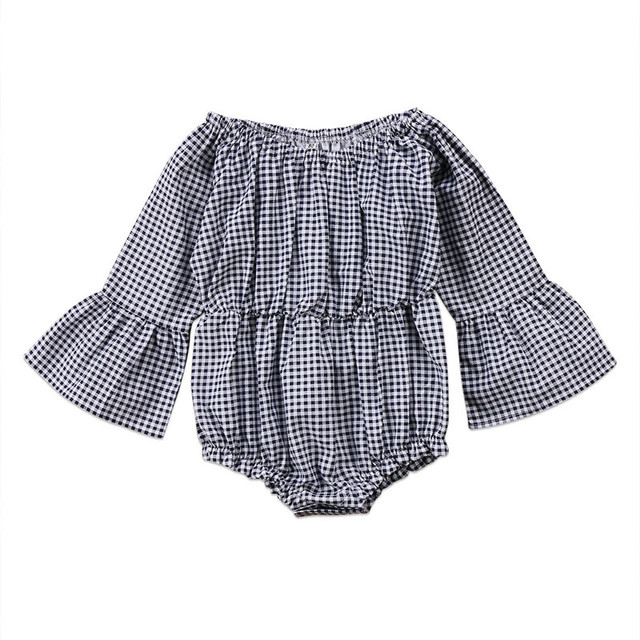 6be897c1eff 2018 new 0-24 month baby girl clothes Plaid baby rompers Cute newborn  clothing Fashion trumpet sleeve baby clothes baby jumpsuit