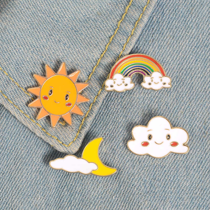 Улыбка Солнце Луна облако Радуга Эмаль булавки мультфильм смайлик лицо погода броши для детей рюкзак джинсовые куртки Нагрудный значок
