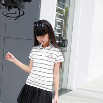 YAUAMDB kids polo shirts 2018 summer 10-15Y cotton girls tops tees clothing short sleeve striped preppy style children clothes33