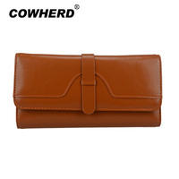 Hot Selling 2017 fashion oil wax genuine leather wallet women long style cowhide purse wholesale and retail leather bag, YW8086