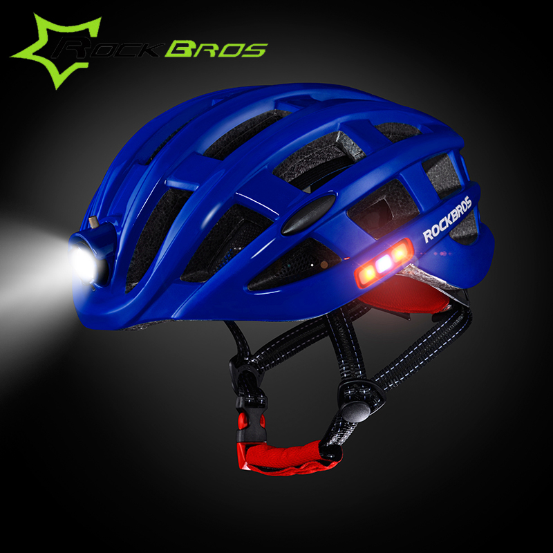 ROCKBROS With Light Intergrally-molded Mountain Road Bicycle Helmet Safe Cycling Helmet Bike Ultralight Helmet Men Women 49-59cm west biking bike chain wheel 39 53t bicycle crank 170 175mm fit speed 9 mtb road bike cycling bicycle crank