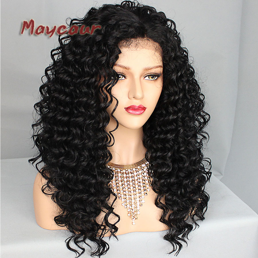 Black Color Afro Curly Wig Heavy Density Synthetic Lace Front Wigs for Black Women Lace Front Wigs Curly Synthetic Hair
