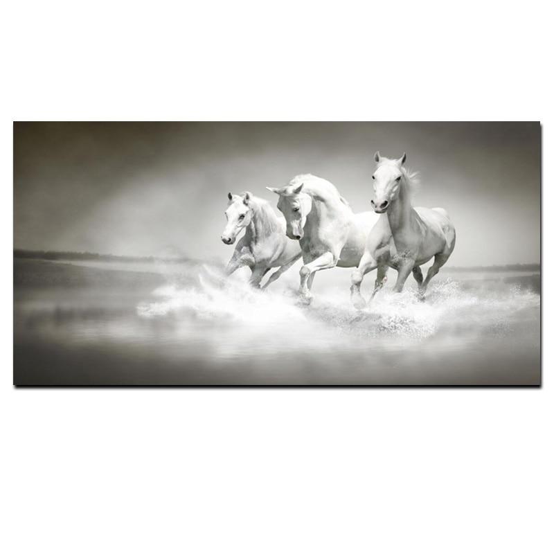 Nowoczesne białe konie biegną w obrazie olejnym rzeki HD Drukuj na - Wystrój domu - Zdjęcie 6
